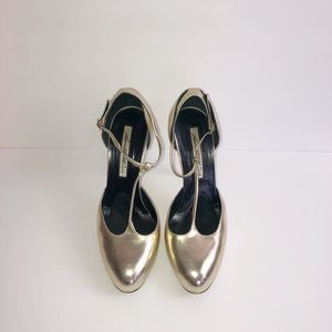 Brian Atwood Metallic Patent Leather Gold Pumps